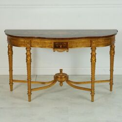Sheraton Wall Console Server Mahogany Wood With Inlay And Gold Leaf