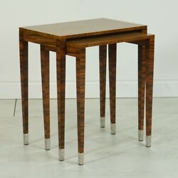 Rosewood Nesting Table Set With Chrome Feet