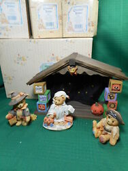 Cherished Teddies Beary Scary Halloween House Display Plus Pirate Ghost Witch