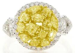 1.51ct White And Fancy Yellow Diamond 18kt 2 Tone Gold Cluster Halo Infinity Ring