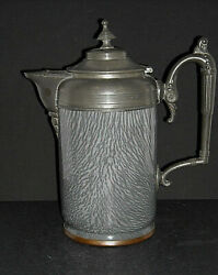 Excellent Tall Pewter-trimmed Grey Graniteware Coffee Pot - Enamel Ware