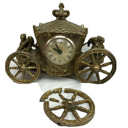 United Clock Gold Horse Drawn Carriage Stagecoach Mantle Works But Needs Repair