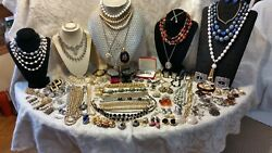 Vintage Costume Jewelry Lot, Many Signed 6lb 5oz. In Box