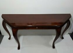 Vintage Large Bernhardt Queen Anne Inlaid Mahogany Console Entry Sofa Hall Table