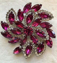 Amazing Vintage Signed Weiss Pink Brooch With Faux Diamond Accents