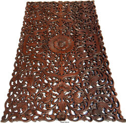 Headboard Asian Floral Tropical Carved Wood Wall Panel.size 27x48dark Brown