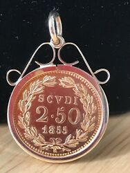 Superb 1855 Mounted 2.5 Scudo Coin Pendant And Box One Of Only 59000 Minted