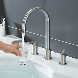 Bathroom Faucet Brushed Nickel 3 Hole 2 Handle 8 Widespread High Arc Mixer Tap