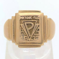 10k Solid Yellow Gold 1933 Presque Isle Maine High School Ring Size 8 Vintage