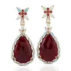27.12ct Natural Ruby Dangle Earrings 18k Rose Gold Precious Opals Jewelry