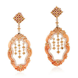 17.42ct Natural Shell Cameos Dangle Earrings 18k Rose Gold Diamond Jewelry
