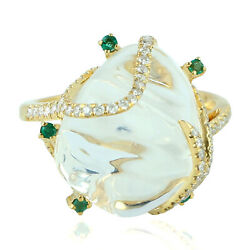 11.32ct Natural Precious Opals Cocktail Ring 18k Yellow Gold Diamond Jewelry