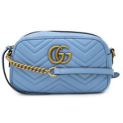 Gg Marmont Shoulder Diagonal Hanging Chain Quilted Leather Ligh _31330