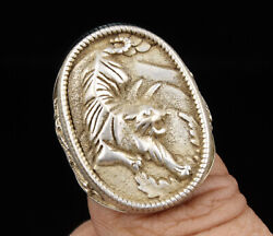 China Old Collectible Hand Carved Tiger Statue Tibetan Silver Ring Gift