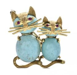 Antique Ruby Turquoise 18k Solid Gold Elegant Cats Pin Brooch Fine Jewelry