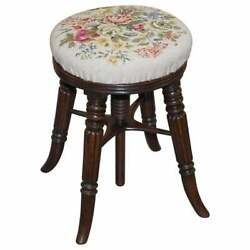 Fine Antique Gillows Of Lancaster Height Adjustable Piano Stool Embroidered Seat
