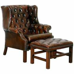 Vintage Hand Made In England Chesterfield Leather Wingback Armchair And Footstool