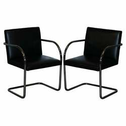 Pair Of Original Vintage Black Leather And Chrome Walter Knoll Brno Armchairs