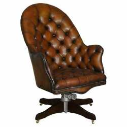 Restored Godfather Hillcrest Cigar Brown Leather Chesterfield Directors Chair