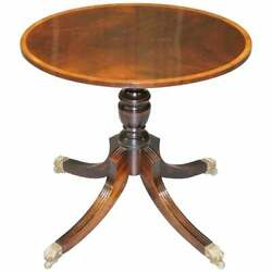 Brand New Flamed Mahogany Oval Lamp Wine Side End Table Lion Hairy Paw Castors
