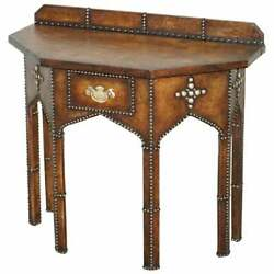 Antique Fully Restored Gothic Pugin Style Brown Leather Studded Console Table