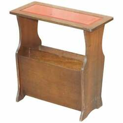 Mahogany With Faded Oxblood Leather Top Bevan Funnell Side Table Magazine Rack