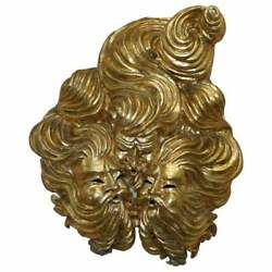 Very Large Gold Gilt Papier Mache Wall Hanging Mask Of The Gods Of Wind In Mask
