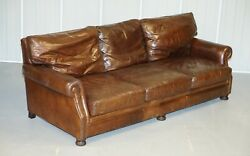 Large 3 To 4 Person Tetrad England Brown Leather Club Sofa Vintage Patina