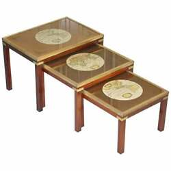 Rare Lovely Coffee And Side Table Nest Of Tables Military Campaign With World Maps