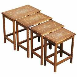 Lovely Anglo Indian Rosewood And Bone Inlay Nest Of Tables Stunning Patina