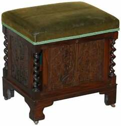 Sublime Antique Victorian Rosewood Heavily Carved Piano Stool Porcelain Castors