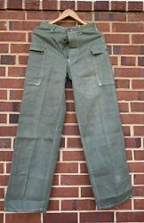 Vintage 40s Wwii Us Army Military Hbt Herringbone 13 Star Buttons Trousers Pants