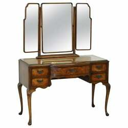 Circa 1930and039s Burr And Burl Walnut Dressing Table With Trifold Mirrors And Glass Top