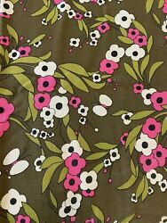 Olive Green And Pink Floral Mid Century Mod Fabric Home Decor Upholstry