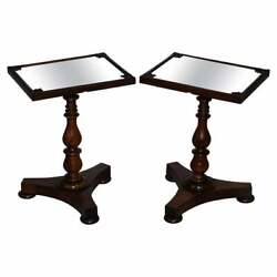 Pair Of Stunning Original 1830 William Iv Rosewood Mirrored Top Side Lamp Tables