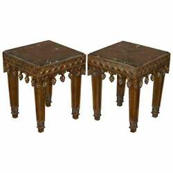 Rrp Andpound8400 Pair Of Gold Giltwood Marble Bust Stands Side End Lamp Wine Tables