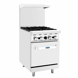 Open Box 4 Burner 24 Range And Std Gas Oven Stainless Steel Atosa Ato-4b 6035