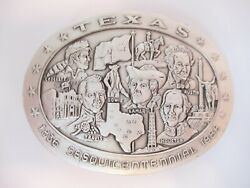 Rare 3 Oz Sterling Silver 1986 Texas Sesquicentennial Belt Buckle Colonial Coins