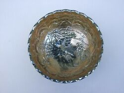 Green Carnival Glass Small Bowl With Grape Pattern Vintage 1920's