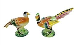 Pheasant Exotic Bird Salt And Pepper Shakers Made In Japan Wooden Corks Vintage