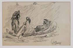 Native American Ink Drawing By William Standing 1904-1951 - Montana Wpa 1940