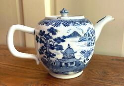 Antique Chinese Export Blue And White Porcelain Teapot 18 C