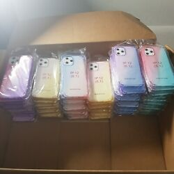 Shockproof Clear Gradient Tpu Case Lot For Iphone 12/pro Wholesale Bulk 75 Cases