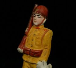 Vintage Japanese Army Soldier Clay Doll Figure Okimono Made In Japan 14.5 Cm