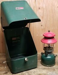 Vintage Coleman 200a 8/51 Red/green Lantern With Green Metal Coleman Carry Case