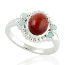 3.03ct Rhodolite Garnet Cocktail Ring 925 Sterling Silver Precious Opals Jewelry