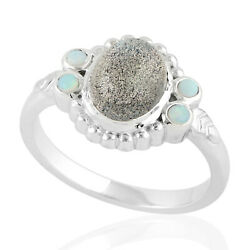 2.73ct Labradorite Cocktail Ring 925 Sterling Silver Precious Opals Jewelry