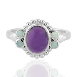 2.24ct Natural Amethyst Cocktail Ring 925 Sterling Silver Precious Opals Jewelry