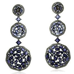 26.86ct Iolite Pave Diamond Dangle Earrings 18kt Gold Silver Party Wear Jewelry