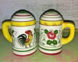 Ucagco Py Japan Rooster And Roses Salt And Pepper Shakers